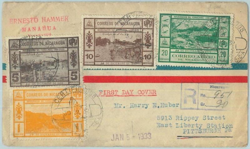 67676 - NICARAGUA  - Postal History - Registered FDC COVER 1932 - Trains