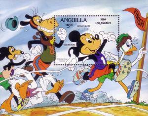 Anguilla SC# 578 MNH Mickey in a Marathon '84 Olympics LA4