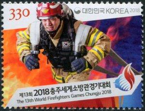 South Korea. 2018. 13th World Firefighter Games, Chungju (MNH OG) Stamp