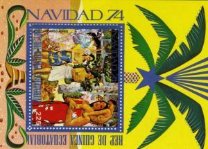 Equatorial Guinea Christmas Tahiti Paintings s/s Perforated mnh.vf