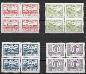 Poland Przenborz Mi15-18 Block of 4 MNH Signed