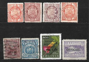 COLLECTION LOT OF 8 BOLIVIA STAMPS 1894+ CLEARANCE