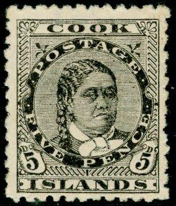 COOK ISLANDS SG9, 5d olive-black, M MINT. Cat £23.