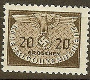 Stamp Germany Poland General Gov't Official Mi 20 Sc NO20 1940 WW2 War Era MH