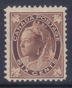 Canada 71 Mint OG 1897 6c Brown Queen Victoria F-VF Scv $140.