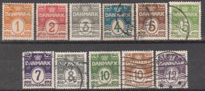 Denmark #85-90, 92-6 F-VF Used CV $23.40 (S2584)