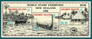 Solomon Islands 1990 Expo World Fair, NZ '90 opt MS, MNH #613b,SGMS621