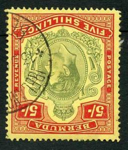 Bermuda SG118b KGVI 5/- Pale Green and Red/yellow Line Perf 14.25 (Ref 12)
