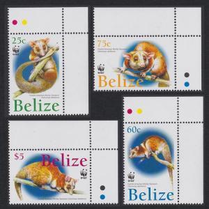Belize WWF American Woolly Opossum 4v T2 Corners 2004 MNH SG#1315-1318