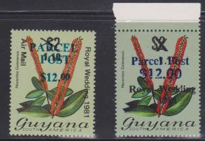 Guyana #Q3 & Q4 1983 Parcel Post Overprints Vf-NH 2015 Cat. $15.50