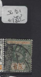 MALAYA SRAITS SETTLEMENTS  (PP0510B)  KE $5.00  SG 121 SINGAPORE CANCEL VFU