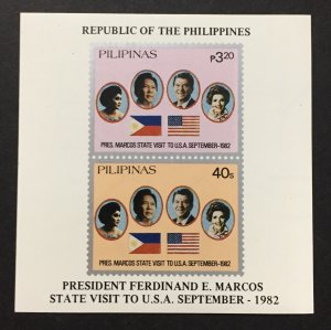 Philippines 1982 #1621a S/S, U.S. Visit, MNH.