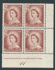 NEW ZEALAND 1953 QE 1½d plate block #11 MNH................................50149