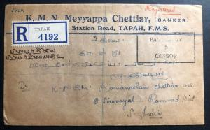 1939 Tapah Malaya Perak Registered Commercial Cover To India