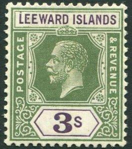 LEEWARD ISLANDS-1922 3/- Green & Violet Sg 76 MOUNTED MINT V33902