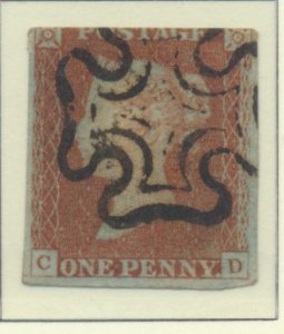 Great Britain Stamp Scott #3, Used, Black Maltese Cross Cancel, C/D - Free U....
