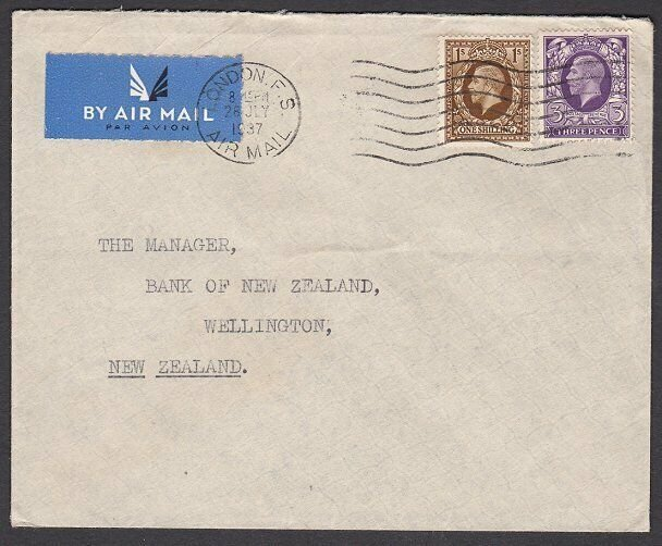 GB 1937 1/3d rate airmail cover London to New Zealand.......................L378