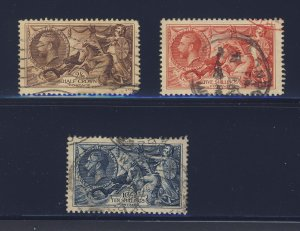 3x Great Britain Used Sea Horse Stamps #179 #180 #181-10Sh Guide Value = $180.00