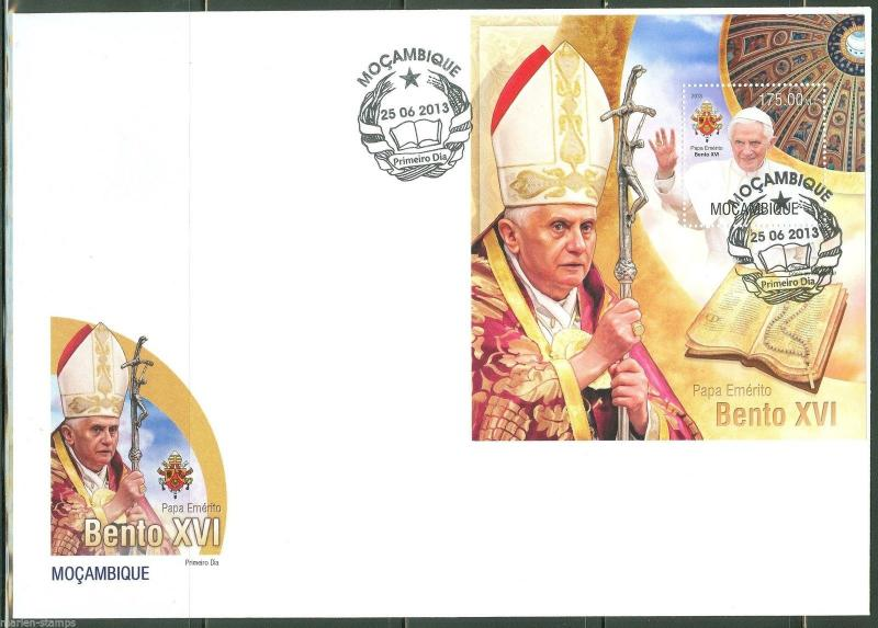 MOZAMBIQUE  2013 POPE BENEDICT XVI   SOUVENIR SHEET FIRST DAY COVER