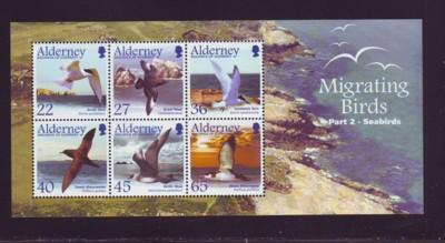 Alderney Sc 214a 2003 birds Seabirds stamp sheet NH