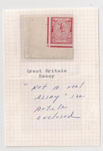 GREAT BRITAIN 1921 Mercury Essay mint corner margin single with article!