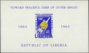 Liberia #C152a, Complete Set, Souvenir Sheet, Imperforated, 1963, Space, Neve...