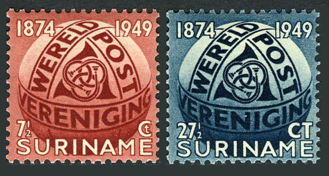 Surinam 238-239,MNH.Michel 313-314. UPU-75,1949.Post Horn entwined