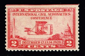 US STAMP #649 – 1928 2c Wright Brothers Airplane MNH