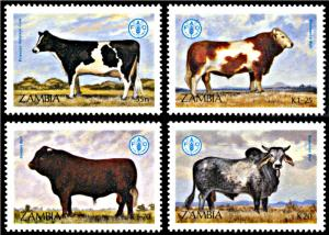 Zambia MNH 418-21 Cattle World Food Day SCV 3.75