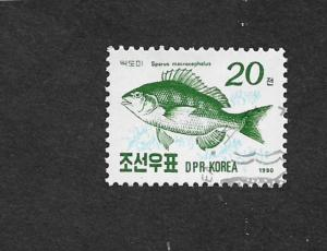 DPR KOREA 1990 FISH 20CH CTO WITH FULL GUM