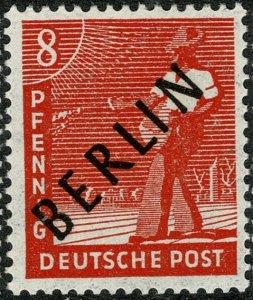 GERMANY BERLIN 1948 8pf VERMILION MINT (NH) SG B3 Wmk.230 P.14 SUPERB