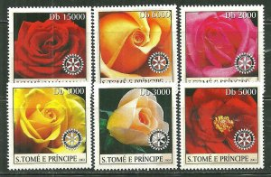 St. Thomas & Prince Islands MNH 1531A-F Roses SCV 9.00