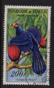 Senegal   #C28  used 1960   AIR  Birds  200fr  violet touraco