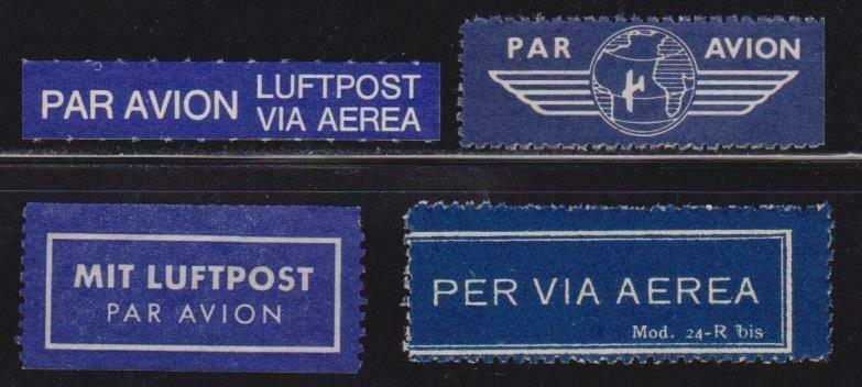 4 Different World Wide Air Mail Labels Etiquettes , Cinderellas - I Combine S/H
