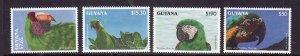 Guyana-Sc#2654-6,2659-unused NH 1/2 set-Birds-parrots-id2-1993-