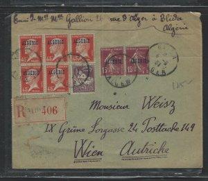 ALGERIA COVER (P1302B)  1931 ON FRANCE OVPT 45CX5+45C+15CX2 REG COVER TO AUSTRIA