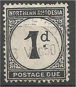 NORTHERN RHODESIA, 1929, used 1p, Numeral  Scott J1