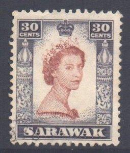 Sarawak Scott 207 - SG198, 1955 Elizabeth II 30c used