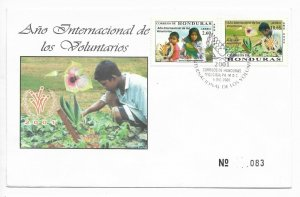 HONDURAS 2000 2001 INTERNATIONAL YEAR OF VOLUNTEERS FIRST DAY COVER FDC