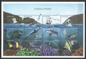 PK108 TANZANIA FISH & MARINE LIFE UNDERSEA WILDLIFE 1SH MNH STAMPS