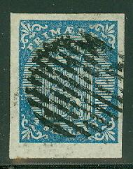 NORWAY #1 (1) 4sk Lion, used w/grid cancellation, large 4 margin stamp, VF