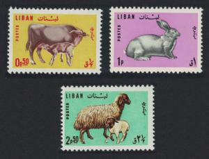 Lebanon Sheep Cow Calf Rabbit Farm Animals 3v SG#884-886