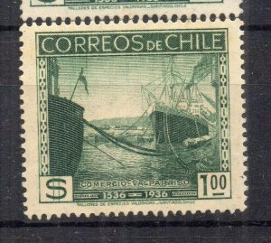 Chile 1936 Anniversary Issue Mint hinged Shade of $1. NW-12992