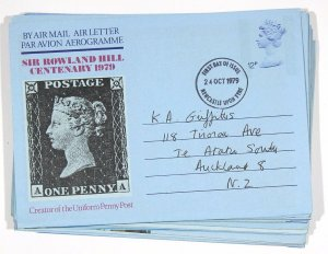 GB 12 x Air Letters. Used to New Zealand. All Backstamped Te Atatu South