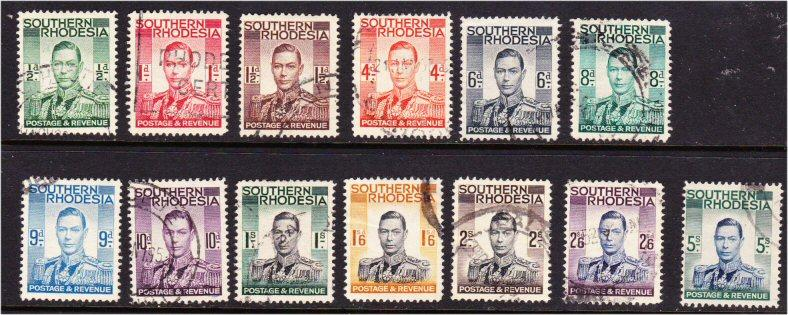 Southern Rhodesia #42-54 cpl set of kings