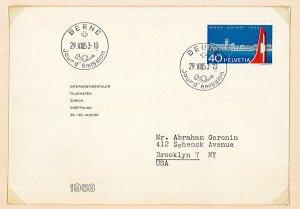 1953 mi595 switzerland zurich airport first day cover