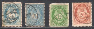 Norway #24b x 2 color shade, 26 and 27 ALL USED