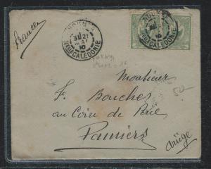 NEW CALEDONIA  (P2612B) 1910 5C PR COVER NOUMEA TO FRANCE