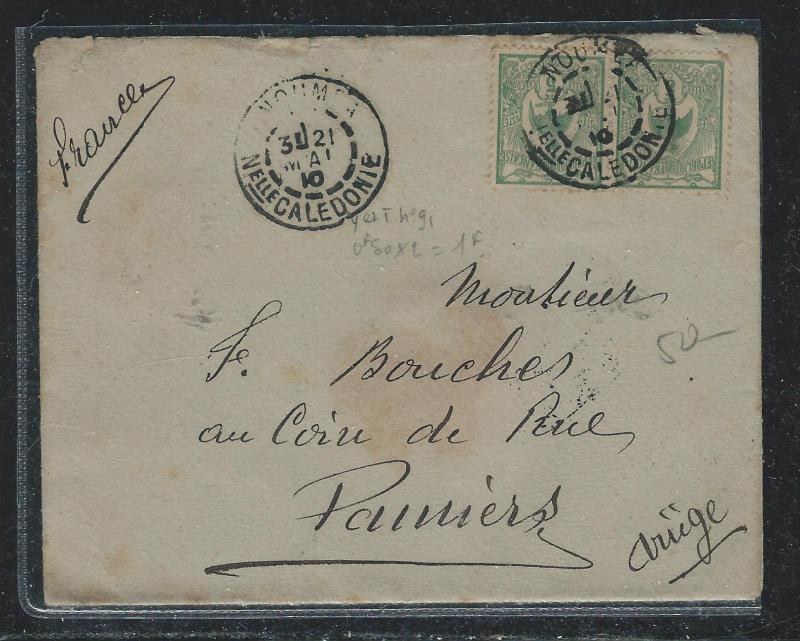 NEW CALEDONIA  (P2612B) 1910 5C PR COVER NOUMEA TO FRANCE