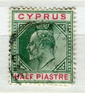 CYPRUS; 1904 early ED VII issue fine used 1/2Pi. value